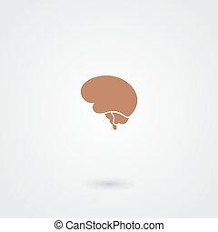 semplice, cervello, minimalistic, icona