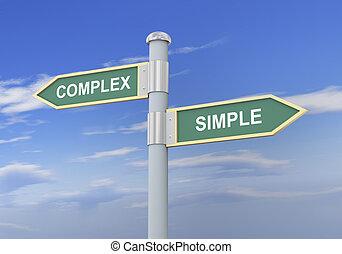 semplice, complesso, 3d, segno strada