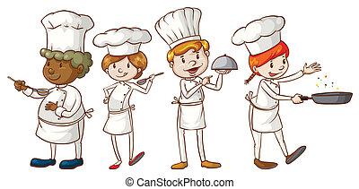 semplice, disegni, chef