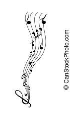 semplice, doga, note, disegno, musicale