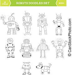 semplice, doodles, set, robot