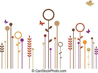 semplice, fiori, vettore