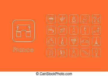 semplice, francia, set, icone