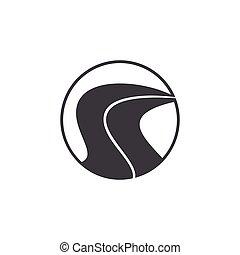 semplice, logotipo, vettore, strada, cerchio, strada