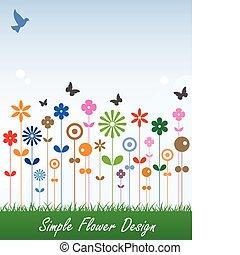 semplice, messaggio, fiore, scheda, etichetta