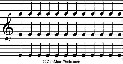 semplice, note, musica
