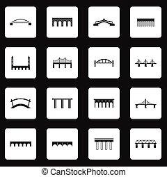 semplice, ponte, stile, set, icone