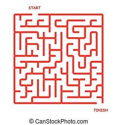 semplice, rosso, labirinto, quadrato