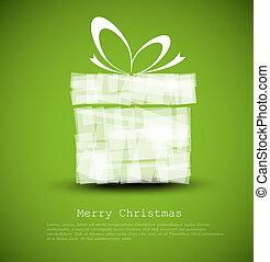 semplice, scheda, verde, regalo natale