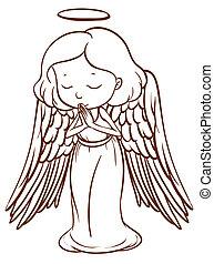 semplice, schizzo, pregare, angelo