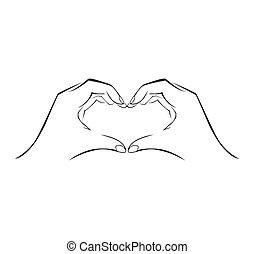 semplice, simbolo, amore, mano