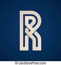 semplice, simbolo, carta, vettore, lettera, r