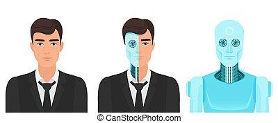 sempre, illustration., giri, vita, realtà, robot., vettore, umano, medicina, futuro, trasformazione, uomo