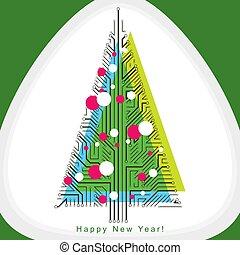 sempreverde, branches., creato, eco, albero, concept., wireframe, linee, theme., illustrazione, natale, vettore, collegato, tecnologia, amichevole, celebrazione