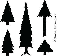 sempreverde, cartone animato, albero