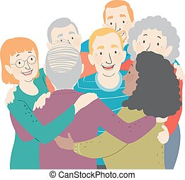seniors, abbraccio, gruppo, illustrazione
