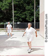 seniors, racquetball, corte