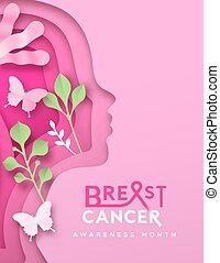 seno, rosa, natura, donna, scheda, mese, cancro, testa