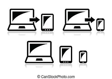 sensibile, disegno, -, tavoletta, laptop