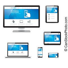 sensibile, disegno web, moderno, comput