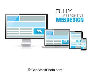 sensibile, disegno web, modo, pienamente