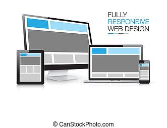 sensibile, pienamente, elettro, disegno, web