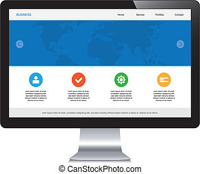 sensibile, webdesign, isolato, desktop