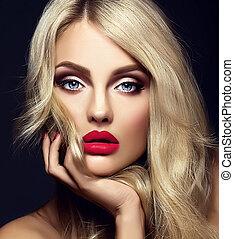 sensuale, faccia, biondo, fascino, bello, trucco, modello, ritratto, luminoso, riccio, sano, rosso, lei, donna signora, capelli, toccante, sfondo nero, labbra