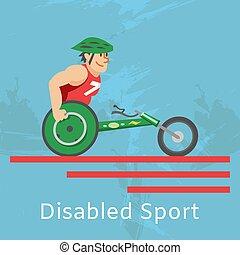 sentiero per cavalcate, atleta, illustration., vettore, invalido, carrozzella, sport, addestramento