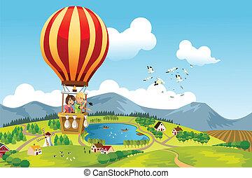 sentiero per cavalcate, caldo, bambini, balloon, aria