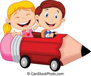 sentiero per cavalcate, felice, penci, cartone animato, bambini