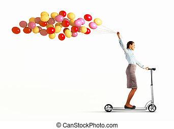 sentiero per cavalcate, scooter, donna, giovane