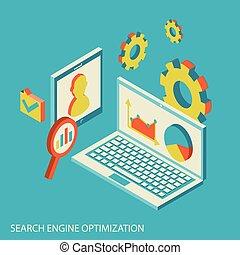 seo, analisi, analytics, disegno, sito web, isometrico, concetto, moderno, dati