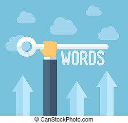 seo, keywords, concetto, illustrazione, appartamento