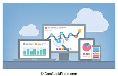 seo, web, concetto, analytics