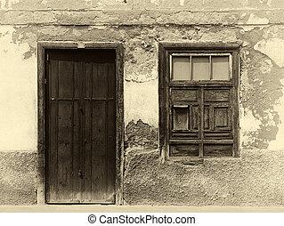 sepia, intonacare, casa, forte, porta, facciata, sbiadito, shuttered, immagine, pareti, ombre, finestra, legno, spagnolo, luce sole, vecchio