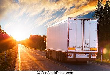 sera, camion, strada, asfalto
