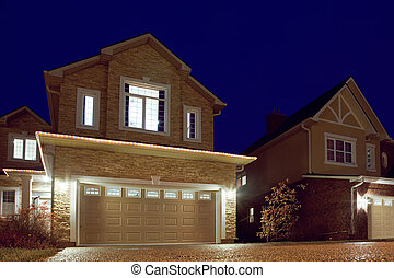 sera, windows, luce, shined, cottages., strada, garlands., lanterne