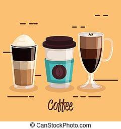 serie caffè, bevanda, differents, campanelle, tipo