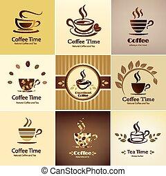 serie caffè, emblema, icone, collezione, caffè, campanelle