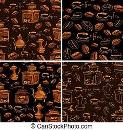 serie caffè, gr, seamless, modelli, campanelle, 4, handdrawn, fagioli
