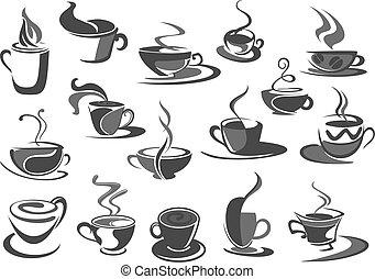 serie caffè, icone, campanelle, caffè, vettore, cafeteria