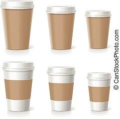 serie caffè, isolato, illustrazione, vettore, campanelle