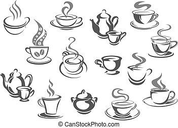 serie caffè, tazza, ciotola, zucchero, tè, teiera, icona