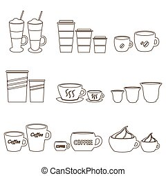 serie caffè, tazze, contorno, icone, formati, variazioni, eps10, campanelle