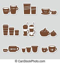 serie caffè, tazze, formati, variazioni, eps10, campanelle, adesivi