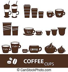 serie caffè, tazze, icone, formati, variazioni, eps10, campanelle