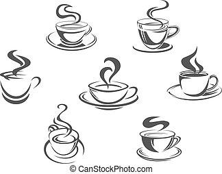 serie caffè, tazze, icone, o, vettore, campanelle, vapore