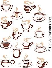 serie caffè, vaporizzazione, caldo, vettore, campanelle