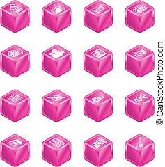 serie, cubo, set, icona, media